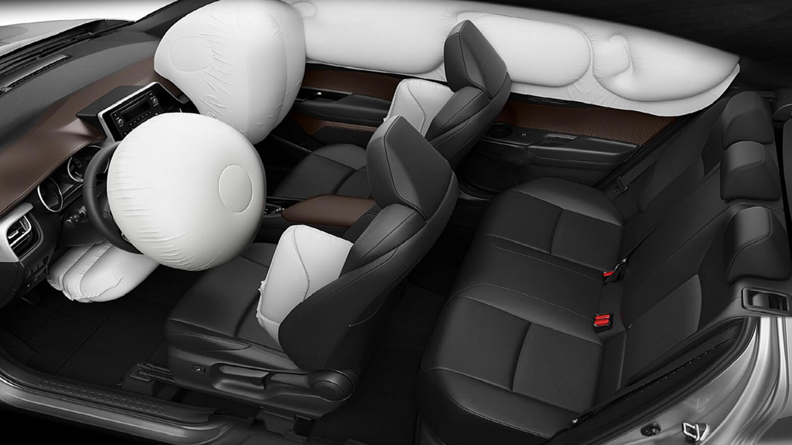 Toyota CHR especificaciones técnicas de las 7 bolsas de aire SRS