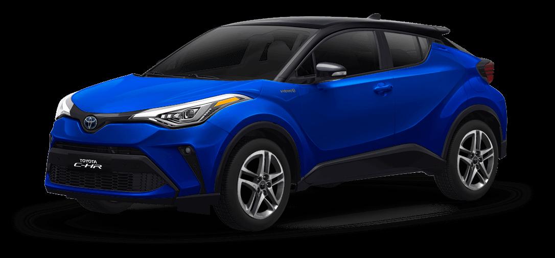 Toyota chr color Negro / Azul Nébula Metálico vista exterior de la camioneta