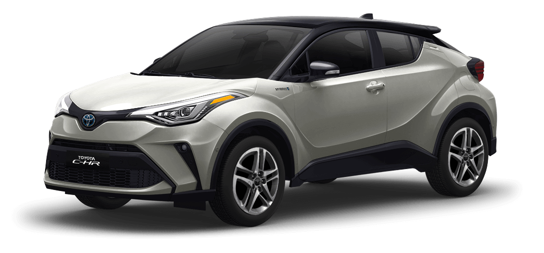Toyota chr color Negro / Blanco Perla vista exterior de la camioneta