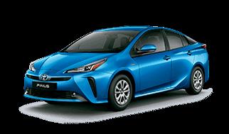 Carro toyota prius cuatro puertas color azul perfil lateral