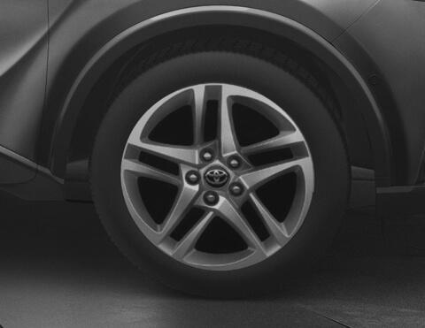 Toyota chr exterior vista de los aros de 17 pulgadas