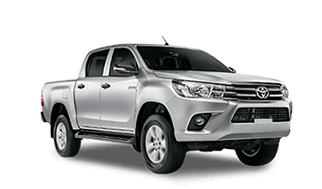 Camioneta Toyota Hilux color gris plata en perfil lateral frontal