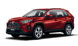 Camioneta Rav 4 toyota color rojo vista lateral