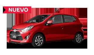 Automovil Toyota Agya color rojo en posición lateral