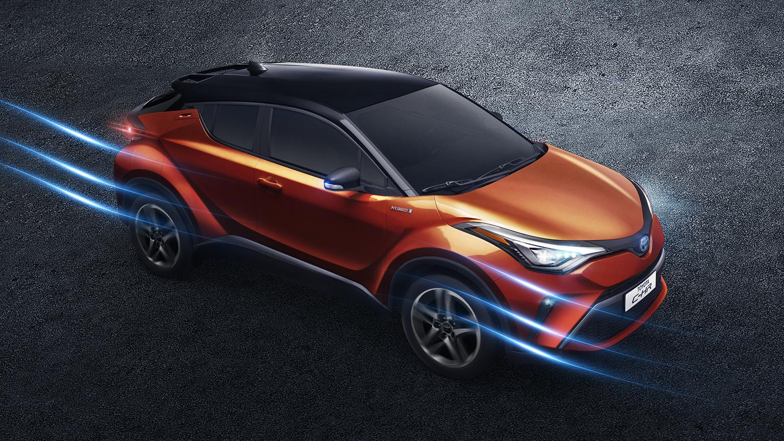 Toyota chr sexy diamond color naranja vista desde arriba