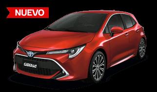 Carro toyota hibrido hatchback de color rojo modelo nuevo de perfil