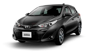 Carro toyota yaris hb de color negro sedan de perfil